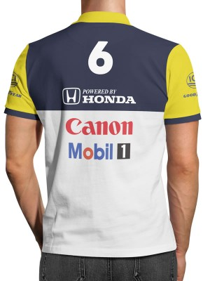 9d6521bd35a1a ... Camisa Polo F1 Retrô Williams Nelson Piquet
